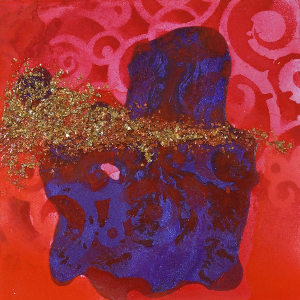DS RED 6 8 X 8 MIXED MEDIA ON PANEL $112.00