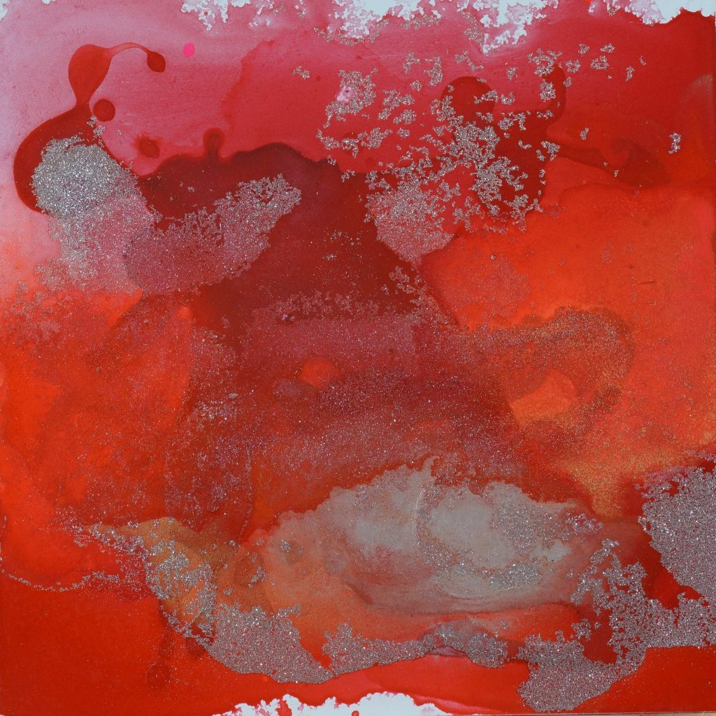 DS RED 7 8 X 8 MIXED MEDIA ON PANEL $112.00